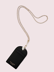 Kate Spade spencer lanyard Leather Chain necklace ~NWT~ Black
