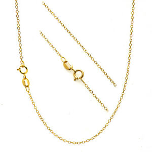 18K Gold over Silver 1mm Thin Cable Chain Necklace