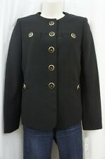 Kasper Separates Suit Jacket Sz 8 Black Gold Faux Pocket Career Business Blazer