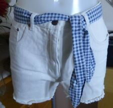 New Frontier - Cream shorts with blue check tie up - size 14 - fab condition