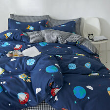 Spaceship Rockets Planets Earth Stars Bedding Quilt Duvet Doona Cover Set Gift
