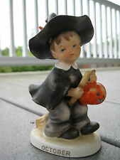 Vintage Lefton October Halloween Boy Witch Figurine Pumpkin