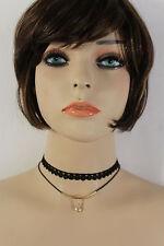 Women Gold Mini Charm 2 Strands Choker Necklace Black Fabric Silver Rhinestone
