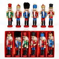 6Pcs Wooden Nutcracker Doll Soldier Mini Vintage Ornaments Christmas Home Decor