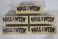 Nice Lot of 5 Halloween Text Duplicate Wood Mounted Rubber Stamps Witch Broom!