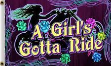 A Girls Gotta Ride 3 X 5 Flag Fl377 bikers item Large 3X5 motorcycle Lady bike