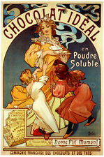 Chocolat Ideal 1897 by Mucha Chocolate Ad Giclee Canvas Print 27X40