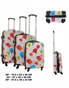 Set of 3 Hard shell Luggage Suitcase Trolley Cabin Case Lightweight Balloons