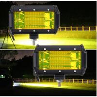2tlg 5Zoll Universal Gelb Off-Road LED Zusatzscheinwerfer 120° Flutlichtleuchte