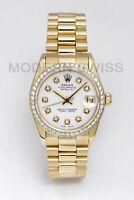 Rolex Ladies Midsize President 18K Yellow Gold White Diamond Dial Bezel Quickset