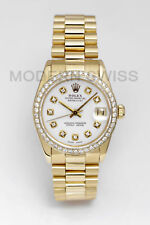 Rolex Ladies Midsize President 18K Yellow Gold White Diamond Dial Bezel Quickset