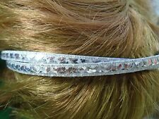 Silver sequin hair alice band 0.5cm twisted bands plastic headband hairband