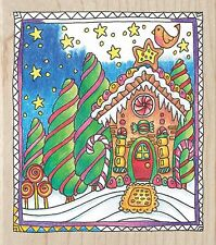 Christmas Gingerbread House, Wood Mounted Rubber Stamp HAMPTON ART New PS1037
