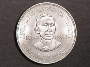 PHILIPPINES 1964 1 Peso Mabini Silver Crown UNC