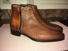 Men's Vero Cuoio Two Tone Brown Leather Ankle Dress Boots Size 8.5 CLASSY RARE!