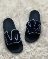 New Tory Burch Navy/ White Love Slide Pool Sandal Size  6