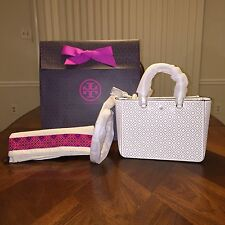 NWT TORY BURCH ROBINSON PERFORATED SMALL MULTI TOTE NEW IVORY