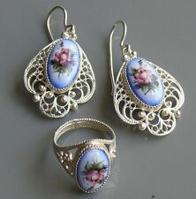 Sterling Silver Ring and Earrings FINIFT & FILIGREE hot enamel, handmade, Russia