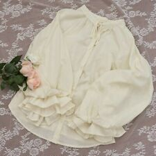 Women Girl Lolita Shirt Ruffle Puff Sleeve Tops Vintage Blouse Japanese Pleated