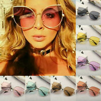 Large Oversized Cat Eye Sunglasses Women Flat Mirrored Lens Metal Frame U