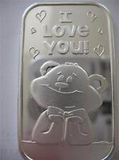 1-OZ SILVER.999 ART BAR TO CUTE TEDDY BEAR I LOVE YOU SOMEONE SPECIAL  GIFT+GOLD