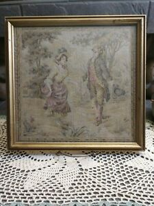 Vintage Framed French Tapestry Art Man And Woman