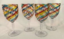 Set of 4 Multi-Color Clear Acrylic Stemmed Wine Glasses - BRAND NEW