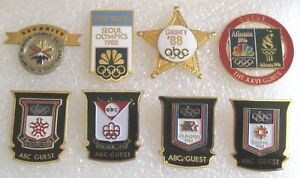 Lot of 8 Olympic Sports Olympics Guest Badges Pins ABC NBC Press Security