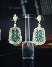 Boucles d'Oreilles Class Clip Doré Mariage Art Deco Jade Vert Pendant Vintage J1