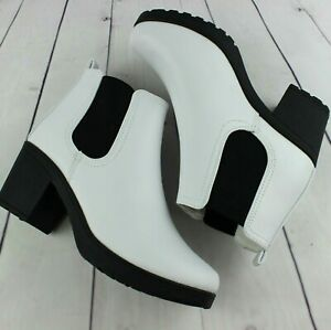 Womens White Mid Block Heel Smart Chelsea Ankle Biker Boots Shoes Size UK 3-8