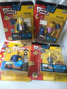 """B6) New Old Stock 3.5"""" THE SIMPSONS INTERACTIVE FIGURES BY PLAYMATES Lot of 4"""