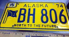 Alaska License Plate 1974 issue BH 806, Alaska Flag, north 2 the future, NICE