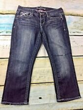 Maurices Dark Denim Flap Pocket Capri Jean Womens 9/10 Regular A8