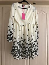 TG Cream Chiffon Butterfly Dress Size 14
