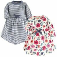 Touched by Nature Baby Organic Cotton Long-Sleeve Dress, 2-Pack, Floral