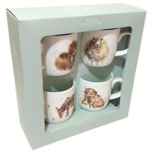 Wrendale Mug Gift Set Farm Animals Royal Worcester Fine Bone China Set of 4