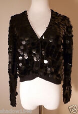 NWT BUT GORDON HENDERSON Black Knit w/Sequins Bolero Long Sleeve Sweater Size M