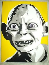 Canvas Painting Lord Of The Rings Gollum Yellow B&W Art 16x12 inch Acrylic