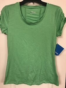 COLUMBIA Women's Rocky Ridge III Tee Outdoor Shirt SZ Small Green