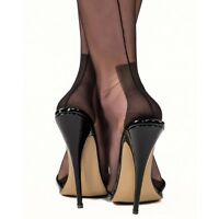 NEW Perfect GIO FF Fully Fashioned HAVANA HEEL Seamed Stockings in BLACK 11 XL