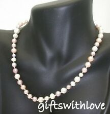 Multicoloured pink cultured freshwater pearl necklace with SS clasp in box