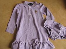 Ralph Lauren Baby Langarm Kleid mit Höschen Big Pony 80 86 18m Neu