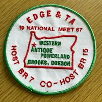 """1987 EARLY DAY GAS ENGINE & TRACTOR ASSOCIATION vintage 5"""" patch BROOKS, OREGON"""