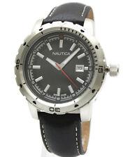 New Nautica Steel Case Black Leather Date Men Oversize Watch 47mm N12600G $125