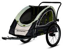 Schwinn Lumina Foldable Reflective Double Bike Trailer with Storage-Gray/Green