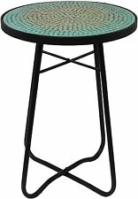 Mosaic Patio Short Bistro Style End Table Teal Green Blue Tile Black Metal  Frame