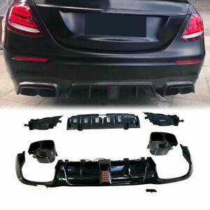 For Mercedes-Benz E-Class W213 Sport Sedan 16-20 Rear Diffuser Lip W/Exhaust Tip