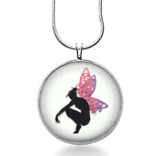 Fairy silhouette Necklace- woodland,nature, bird,tree branch, Silhouette