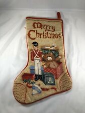 """Win-Tex Co Hand Needlepoint Christmas Wool Stocking Toy Soldier Toys Bear 17"""""""
