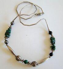 Silver Tone Green Malachite Beaded Necklace